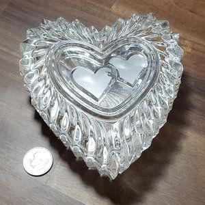 Heart Shape Glass Trinket Box